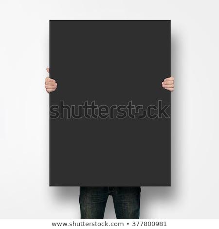 üzletember visel hivatalos öltöny tart tábla Stock fotó © robuart