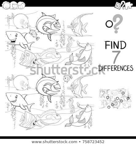 differences color book with funny fish characters Stock photo © izakowski