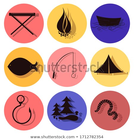 fishing flat icon set stock photo © netkov1