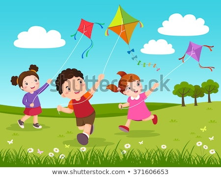 Kinderen spelen Kite kid recreatie vector Stockfoto © robuart
