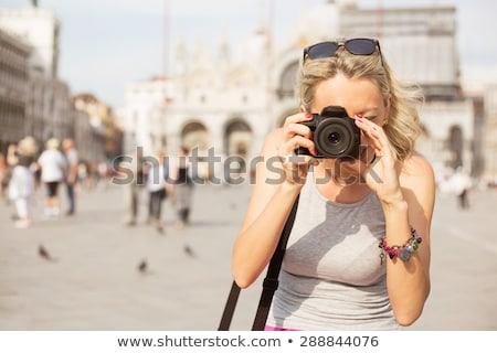 Foto stock: Mujer · toma · fotos · cámara · Venecia · femenino