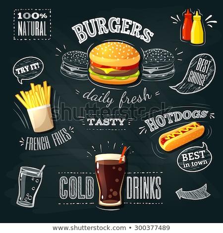 Hot dog gyorsételek szöveg poszter minta monokróm Stock fotó © robuart