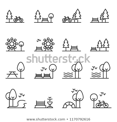 trees and bench icons set vector illustration stock photo © robuart