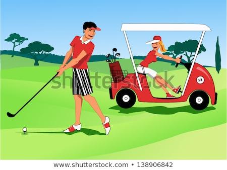 Femme golf panier illustration joli jeune femme Photo stock © tiKkraf69