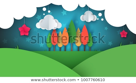 Kâğıt karikatür ağaç çiçek tepe bulut Stok fotoğraf © rwgusev