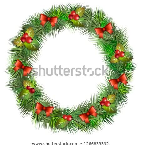 Heiter Weihnachten Elemente Kranz Kiefer Zweig Stock foto © ikopylov