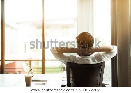 улыбаясь · менеджера · расслабляющая · офисные · кресла · счастливым · старший - Сток-фото © lichtmeister