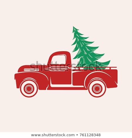 vector vintage pickup truck delivery of christmas tree Stock photo © freesoulproduction