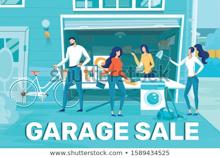 People Selling Used Items at Garage Sale Vector Stock photo © robuart
