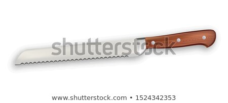 Widział nóż metaliczny zawodowych sprzęt kuchenny wektora Zdjęcia stock © pikepicture