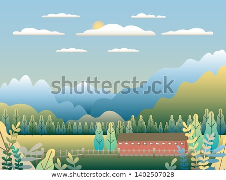 Hills and mountains landscape in flat style design. Valley backg Stock photo © cosveta