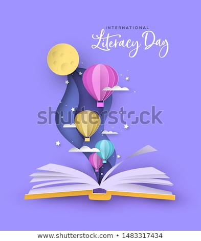 Literacy Day open book papercut hot air balloon Stock photo © cienpies
