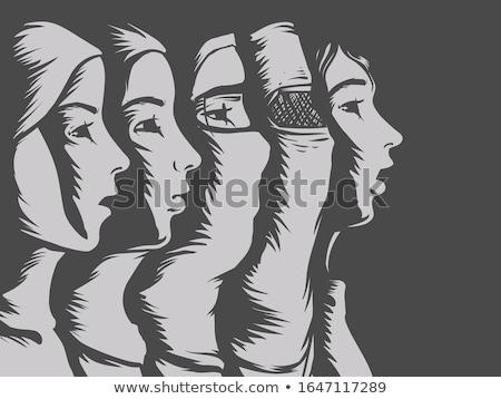 Girl Muslim Hijab Stencil Illustration Stock photo © lenm