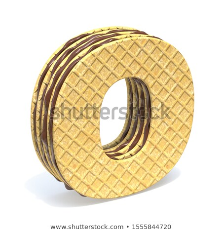 Waffles font with chocolate cream filling Letter O 3D Stock photo © djmilic