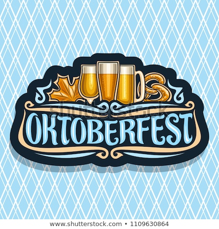 October fest pattern Vector. Dark background. Beer and pretzel l Stock photo © frimufilms