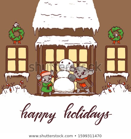 Postcard with mice Happy Holidays. Little rats sculpt a snowman in the background of the house. Stock photo © vasilixa