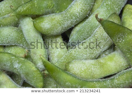frozen edamame, japanese green soybeans in the pod