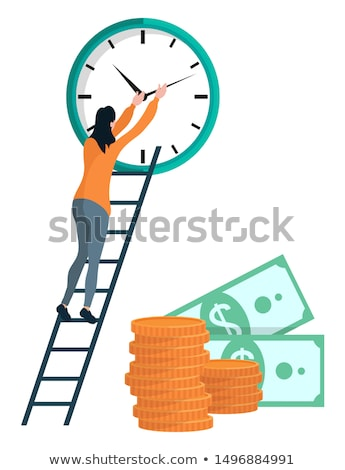 Girl Winds the Clock, Coins and Dollars Vector Stock photo © robuart