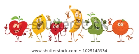 Tasty sweet fruits and berries set with emoji Stock photo © barsrsind