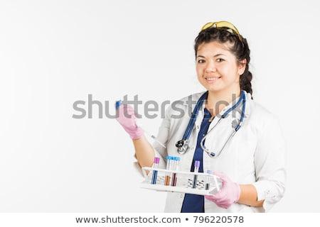 Kız bilim cüppe beyaz örnek mutlu Stok fotoğraf © bluering
