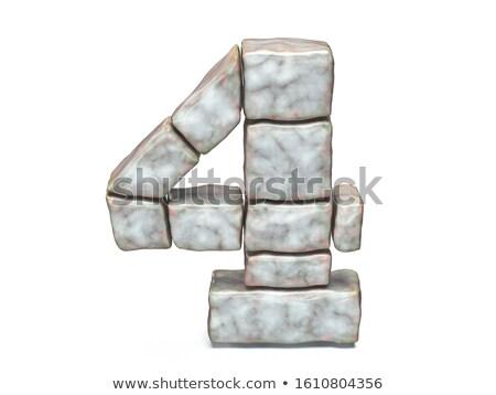 Rock metselwerk doopvont aantal vier 3D Stockfoto © djmilic