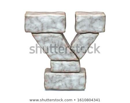 Rock metselwerk doopvont brief 3D 3d render Stockfoto © djmilic