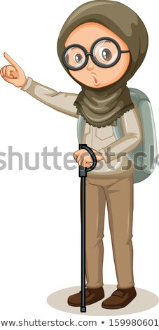 Muslim girl with hiking stick on white background Stock photo © bluering