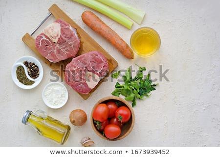rustic raw uncooked beef bone marrow stock photo © zkruger