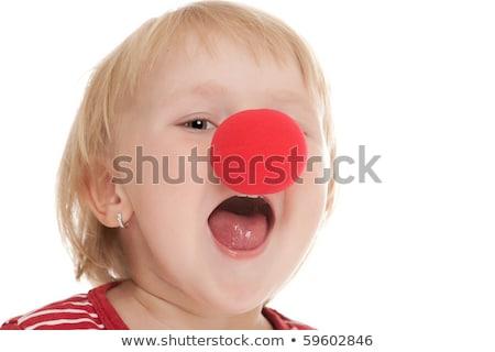 Vidám fiú piros bohóc orr születésnapi buli nap Stock fotó © dolgachov
