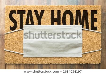 Welkom medische gezicht masker blijven home Stockfoto © feverpitch