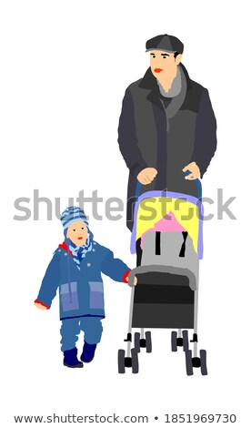 Daddy Walking with Son in Carriage in Park Vector Stock photo © robuart