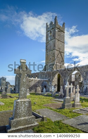Ierland middeleeuwse abdij stad gebouw Blauw Stockfoto © borisb17