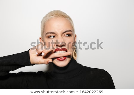 Vrouw kort kapsel bijten trui afbeelding Stockfoto © deandrobot