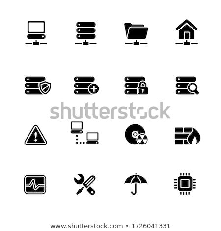Ağ Sunucu hosting web simgeleri siyah vektör Stok fotoğraf © Palsur