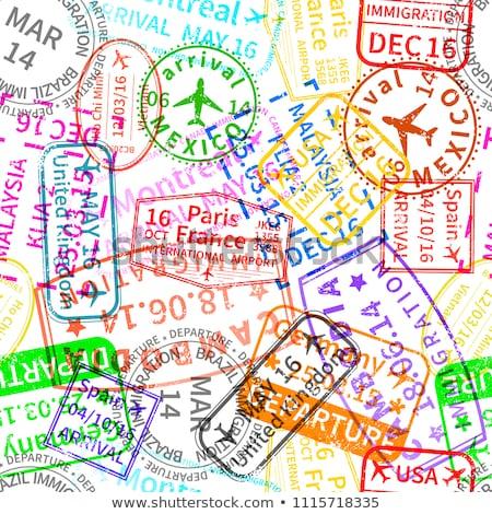 Veel heldere kleurrijk immigratie postzegels Stockfoto © evgeny89