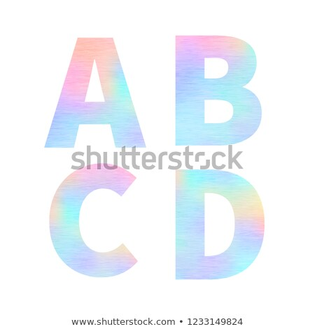 Modern A B C D letters with bright colorful holographic foil texture isolated on white Stock photo © evgeny89