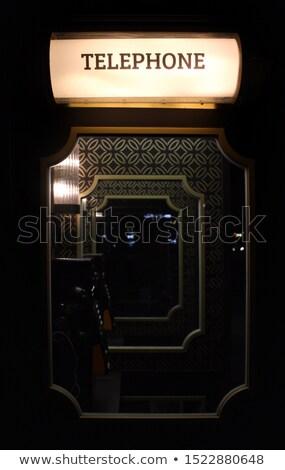 Art deco telefon klasszikus márvány sárgaréz polc Stock fotó © albund