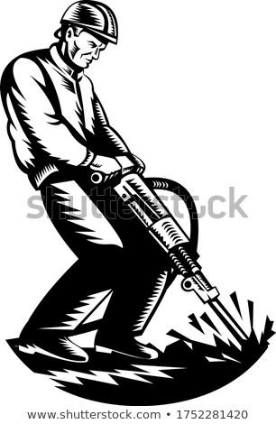 Bauarbeiter Hammer Bohrer Retro schwarz weiß Illustration Stock foto © patrimonio