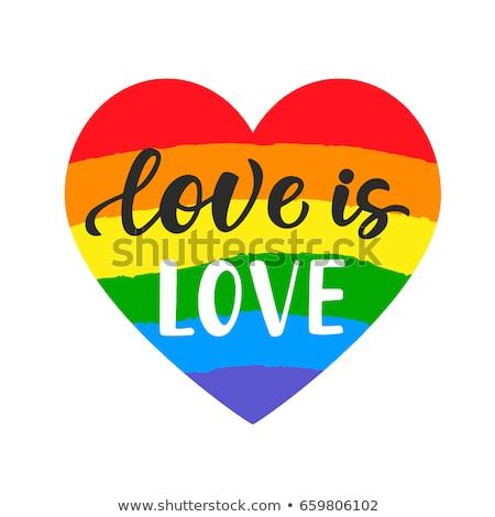 Amor mano forma de corazón orgullo eslogan homosexual Foto stock © Zsuskaa