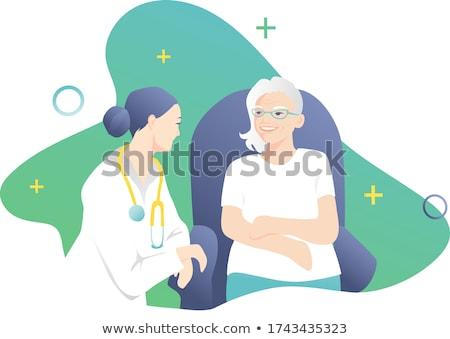 Doktor konuşma yaşlı hasta ev yüz Stok fotoğraf © AndreyPopov
