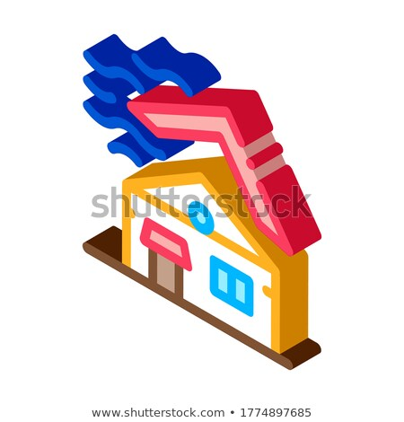 Stock fotó: Roof Tear Down Isometric Icon Vector Illustration