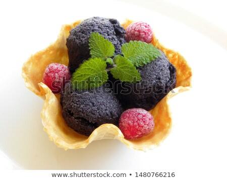 wafel · vruchten · chocolade · ijs · ontbijt · vork - stockfoto © ansonstock
