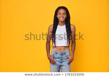 Foto stock: Belo · adolescente · sorridente · retrato · feliz