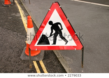 british roadworks sign on the side of a road stock photo © latent