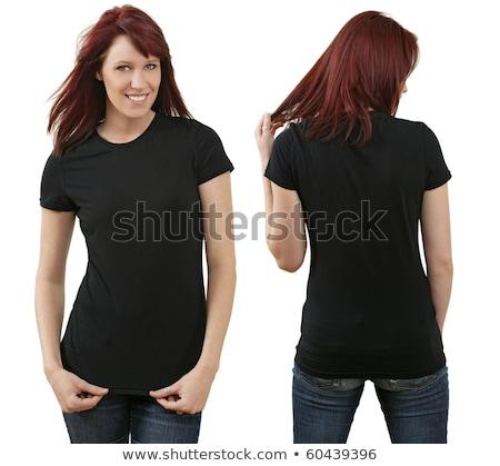 młodych · kobieta · czarny · shirt · biały - zdjęcia stock © Rob_Stark