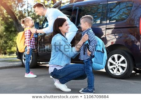 Peu garçon voiture extérieur colère ciel Photo stock © pekour