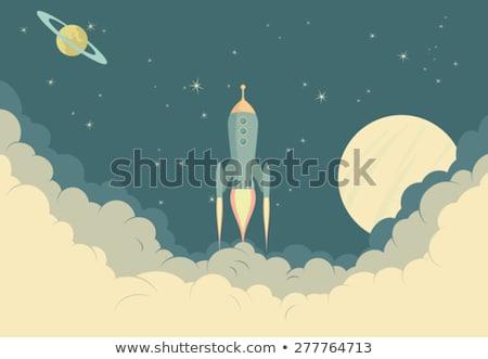 Retro foguete nave espacial lua ilustração Foto stock © fenton