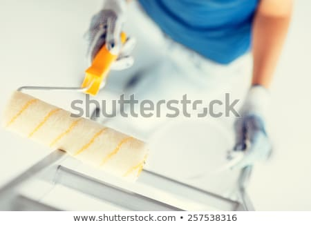 Woman holding paint pot and roller Stock photo © photography33