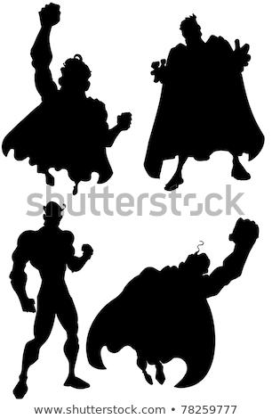 Cartoon masked superhero flying up stock photo © antonbrand