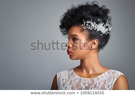 Mulher negra vestido de noiva preto africano americano mulher noiva Foto stock © piedmontphoto